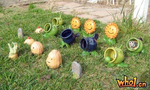 玩家自制现实版《植物大战僵尸》装饰草坪